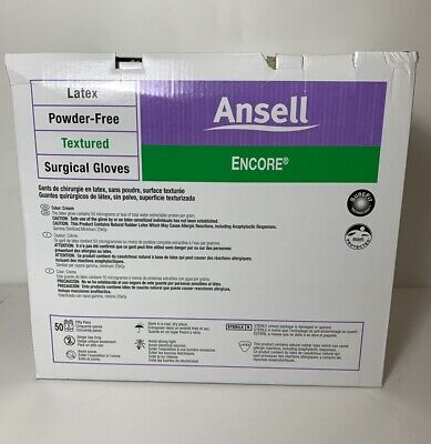 New Box Of 50 Pair Ansell Encore Powder Free Latex Surgical Gloves Size 6