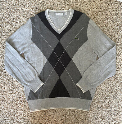 Lacoste Mens Size 4 Grey Long Sleeve Pullover Argyle Print Sweater
