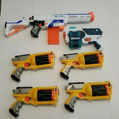 Lot of 5 NERF Guns 1 Retaliator Elite Recon, 4 maverick rev6, and 1 zuru xshot.