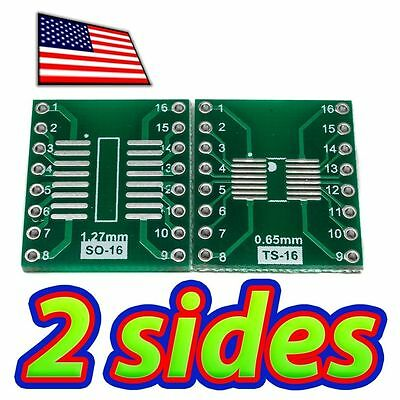 [5x] Double Sided SOP16 and TSSOP16 to DIP16 adapter Breakout PCB Converter