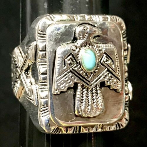 1940s 50s 60s Silver Native American Turquoise Indian Thunderbird Ring Vintage