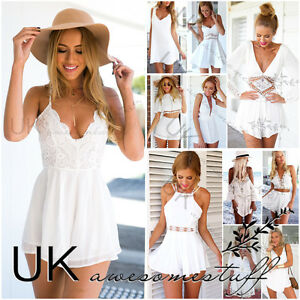 UK-Womens-Celeb-Sexy-Mini-Playsuit-White-Jumpsuit-Summer-Shorts-Beach-Sun-Dress