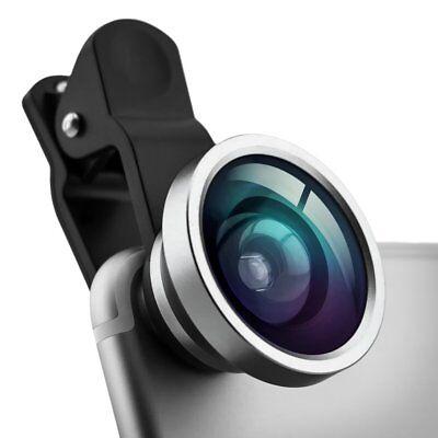 Selfie Handy Linse Abnehmbarer Clip-on Weitwinkel Objektiv in der Farbe silber