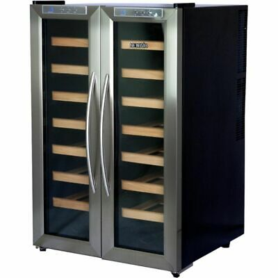 - Stainless Steel 32 Bottle Dual-Zone Wine Cooler, French Door Refrigerator Cellar