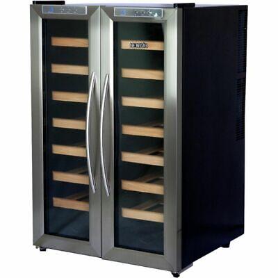 Stainless Steel 32 Bottle Dual-Zone Wine Cooler, French Door Refrigerator Cellar