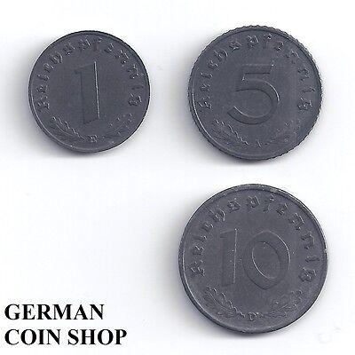 Germany Drittes Reich - Set 1, 5, 10 Reichspfennig 1940 - 1945