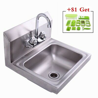 Stainless Steel Hand Wash Washing Wall Mount Sink Wfaucet Heavy Dutycommercial