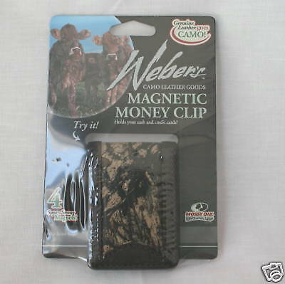 Mossy Oak Camo Camouflage Leather Money Clip