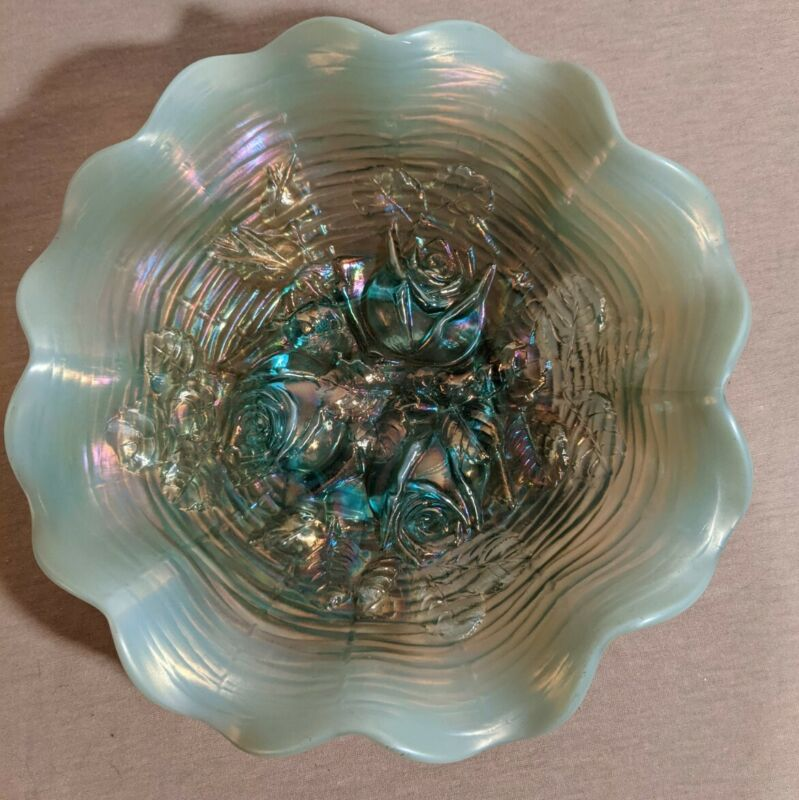 "Northwood Aqua Opal ""Rose Show"" Carnival Glass  8"" Ruffled Bowl - Stunning!"