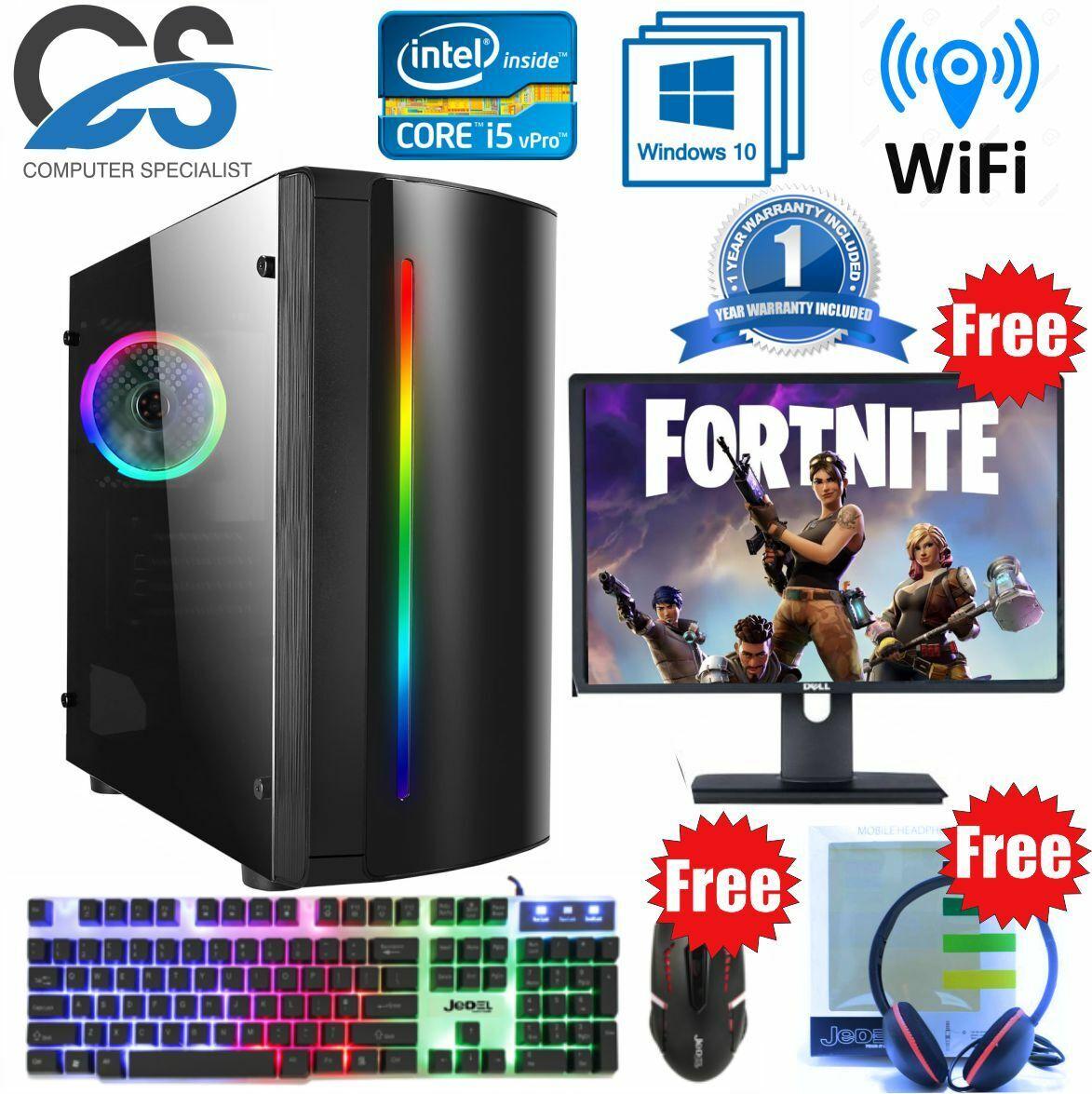 Computer Games - Fast Gaming PC Computer Bundle Intel Quad Core i5 8GB 1TB 2GB GT710 Win10 Beam