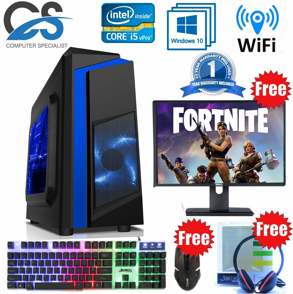 Computer Games - Gaming PC Computer Bundle Intel Quad Core i5 16GB 1TB Windows 10 4GB GTX 1050Ti