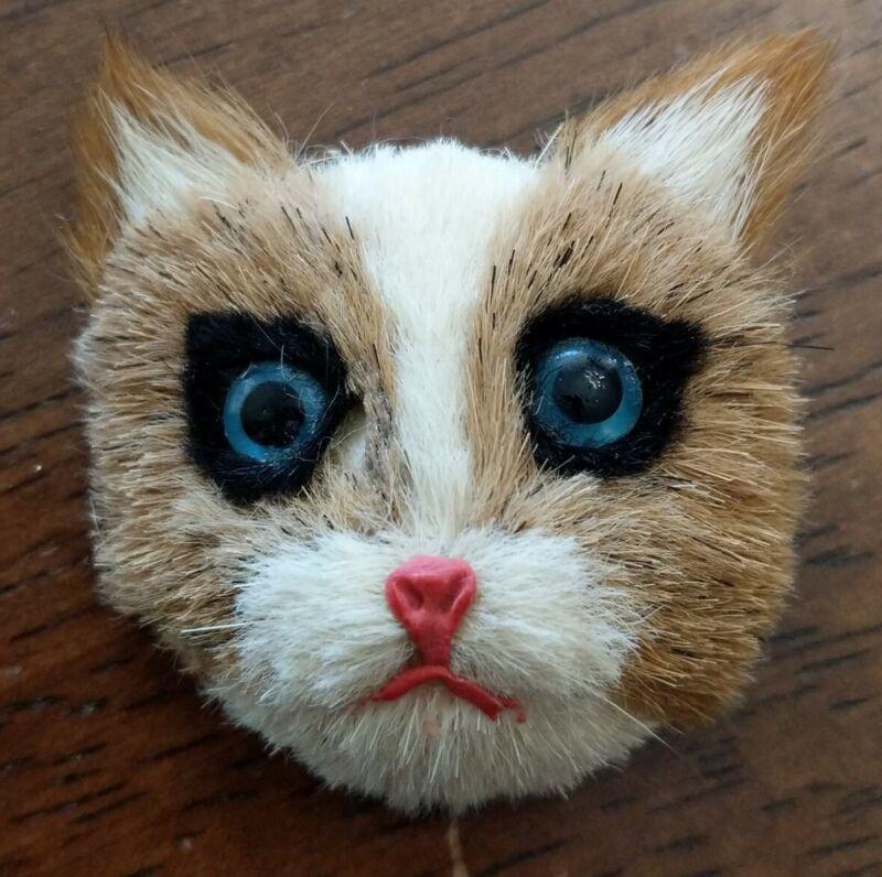 Vintage REAL FUR FACE CAT Pin