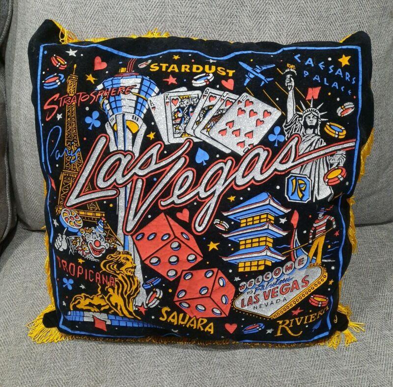 """Vintage Las Vegas Souvenir Decorative Throw Pillow Black Velvet Fringe Trim 14"""""""