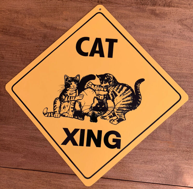 Novelty Funny Cat Xing Crossing Sign