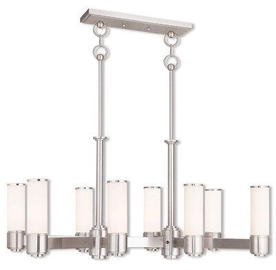 Brushed Nickel Livex 8 L Weston Linear Chandelier Ceiling Fixture Lamp 52108-91