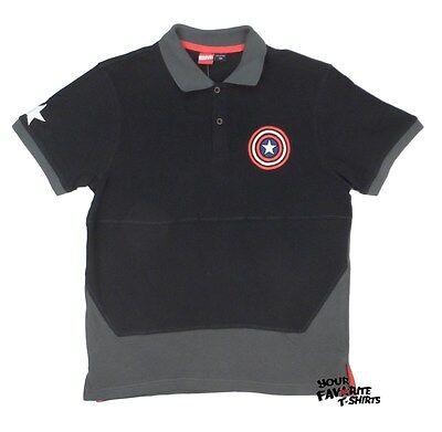 Captain America Shield Symbol Marvel Adult Embroidered Polo Shirt - Captain America Shield Adults