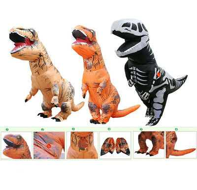 T-REX Dinosaur Inflatable Suit w/Batteries Fans For Christmas Costume Cosplay