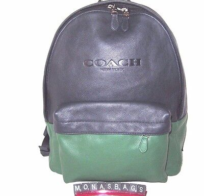 Coach Men's Midnight Blue & Green Large Leather Backpack Bag F72159  NWT $550