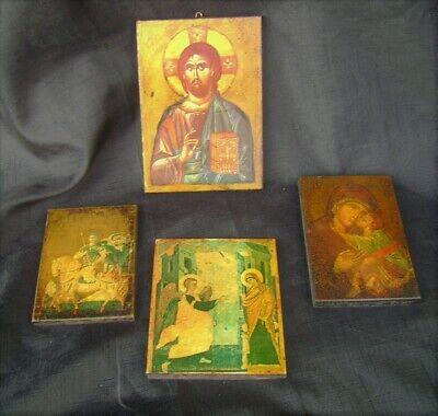 Four Vintage Religous Icon on Wood Panels.