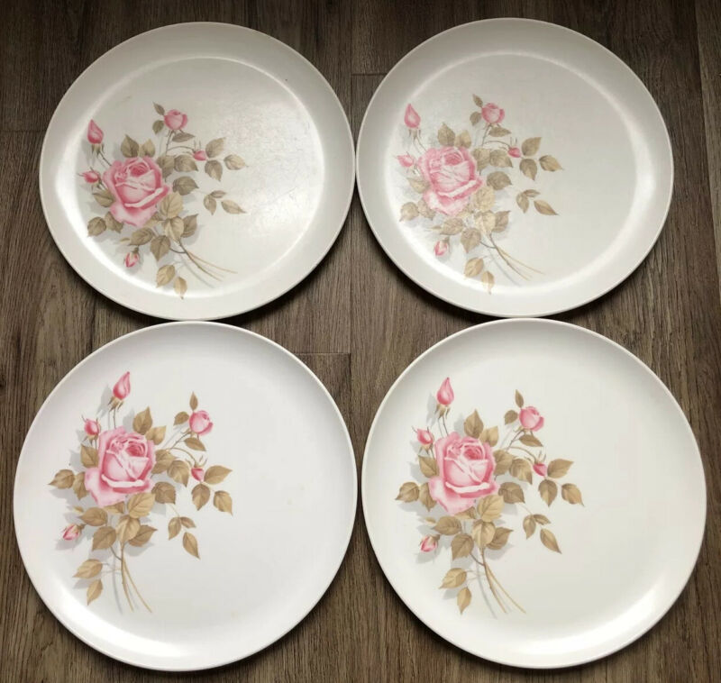 Vintage Melmac Boonton Dinnerware Pink Roses Brown Leaves 4 Dinner Plates 1960s