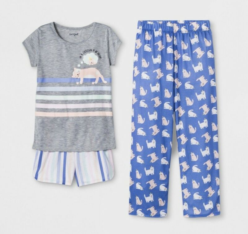 Cat & Jack 3 Pc Set Girls Cat Print Pajamas Size 7/8 New W/ Tags Shorts & Pants