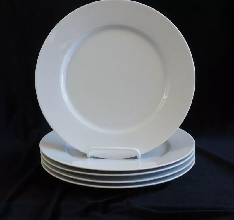 "Set of 5 BLOCK SPAL Lisboa White 10 5/8"" Dinner Plates /c"
