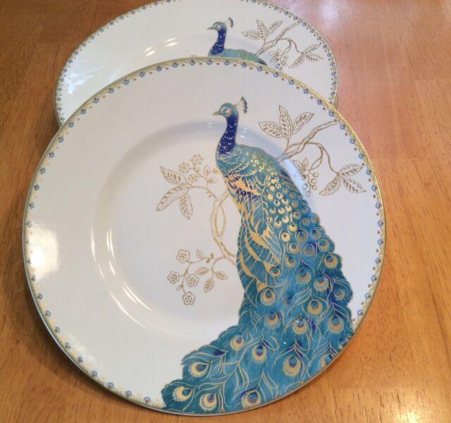 222 Fifth Peacock Garden Salad Plates. Porcelain. Beautiful. Set Of 4. New