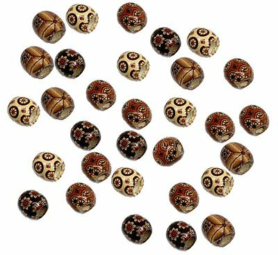 90 Wood Large Hole Macrame Beads 16mm Mixed Colors Painted - Large Wood Beads