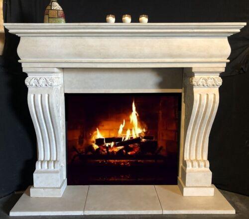 GRAND Fireplace Mantle CAST STONE – LARGE Mantel - Limestone look