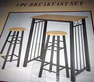 3-Piece Black Metal Table Oak Bar Stool Breakfast Dining Nook Set Counter Height