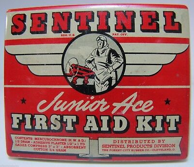 Ace First Aid Kit (Old SENTINEL JUNIOR ACE FIRST AID KIT Adv Tin pilot airplane litho Cleveland)