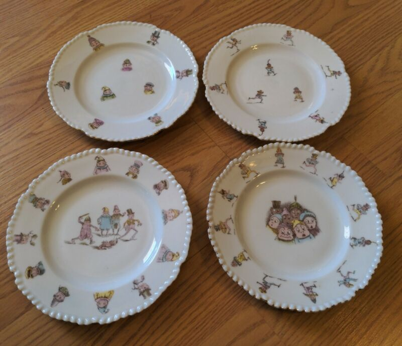 4 Palmer Cox Brownies Plates Antique Transfer Decoration Porcelain