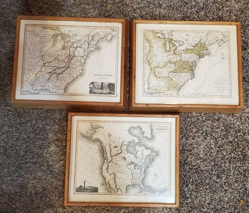 3 Vtg Framed John Thomson & Co. Edinburgh Map Prints of The United States 1794