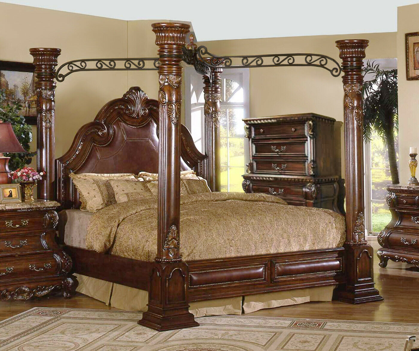 Picture of: King Cherry Poster Luxury Canopy Bed W Leather Headboard Master Bedroom Ebay