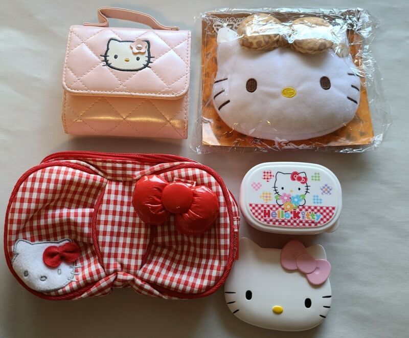 Vintage Hello Kitty Collectibles Lot - Wallet Bag Mirror Container Key Chain