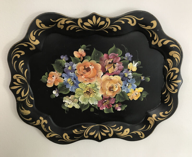 LARGE TOLE TRAY  HAND PAINTED FLORAL VINTAGE