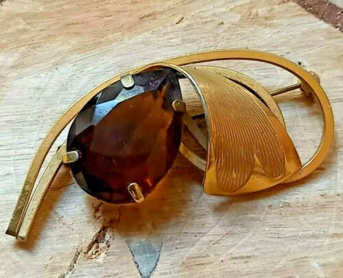 Vintage Large Amber Glass Gold Tone Brooch Pin MCM 50s 60s Statement Jewellery