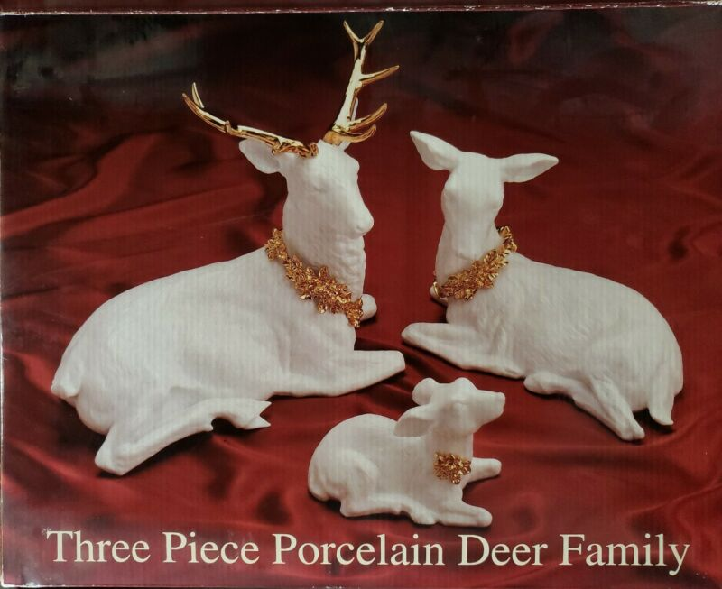 Traditions Galleria 3 Three Piece Porcelain Deer Family White Gold Accent w/ Box