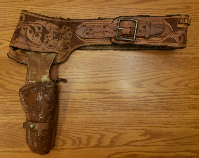 """Vintage Gun Pistol Holster Leather Tooled Antique Western Cowboy 41"""" Belt"""