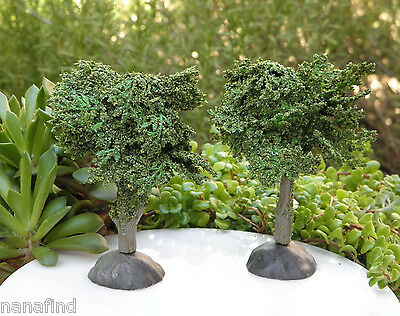 (Miniature Dollhouse FAIRY GARDEN ~ Set of 2 Dark Green Landscape Trees ~ NEW)