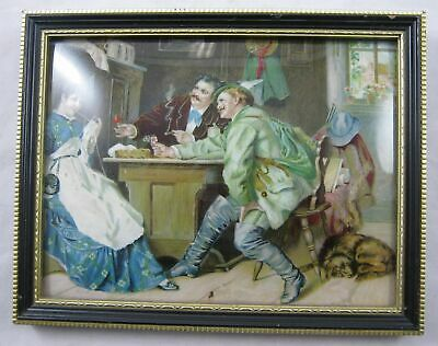 Antique Vintage Convex Curved Bubble Glass framed picture- woman with 2 suitors