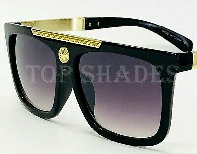 Fashion Gold Arms New Designer Men Women Sunglasses Black Brown Frame and Lens (Black Sunglasses Gold Frame)
