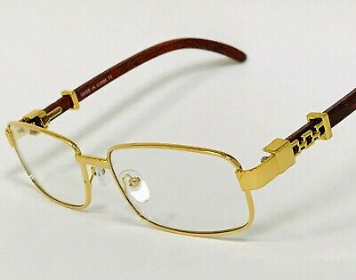 Mens Classy Elegant Square Style Clear Lens Eye Glasses Gold Wood Fashion (Polycarbonate Glasses Lenses)