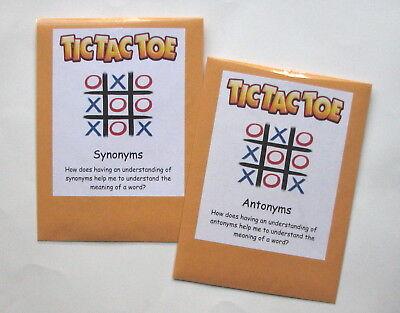 2 Teacher Made Literacy Centers Resource Games Synonym & Antonym Tic-Tac-Toe (Game Synonym)