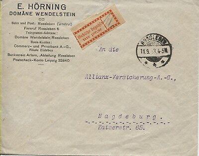 Gebührenzettel OPD Halle (Saale) 1 I e auf Brief Rossleben - Magdeburg (B05870)