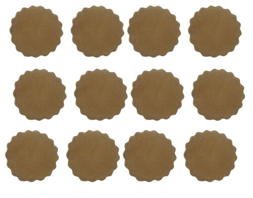 "12 pcs 2"" Beige Genuine Suede Leather Scalloped Rosettes Rounds Blanks Western"
