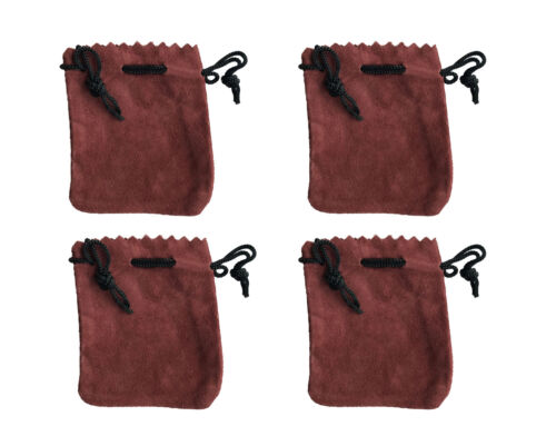 """4 Maroon Genuine Suede Leather 3"""" Drawstring Pouch Bag Jewelry Coin Renaissance"""