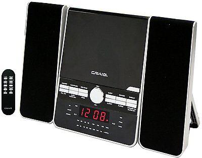 CRAIG 3-PIECE CD SHELF SPEAKER SYSTEM DUAL ALARM CLOCK AM/FM STEREO RADIO REMOTE Craig Cd Home Audio
