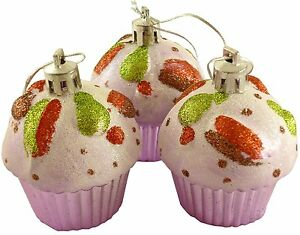 Cupcake Ornaments, Set of 3 Christmas Tree Glittery Decorations - Pastel Pink