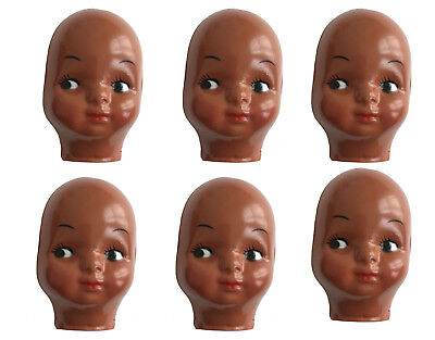 Lot of 6 Vintage Celluloid Plastic Craft Doll Faces Masks Black African American - Craft Dolls
